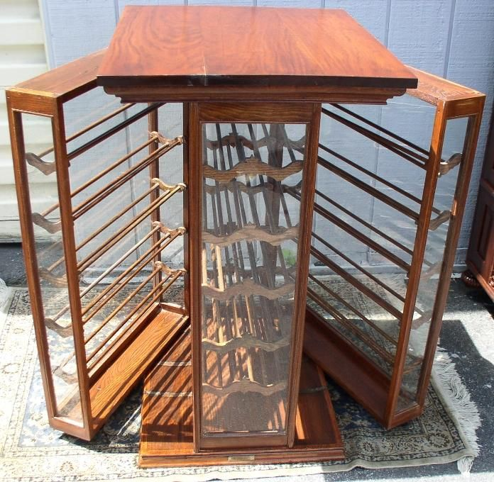 Walnut Double Sided Ribbon Cabinet, With Swing-Out Sides, BRASS LANTERN  ANTIQUES - Walnut Double Sided Ribbon Cabinet, With Swing-Out Sides, BRASS