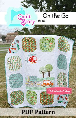 Cute quilt for little boy called On the Go by Quilt Story Patterns.
