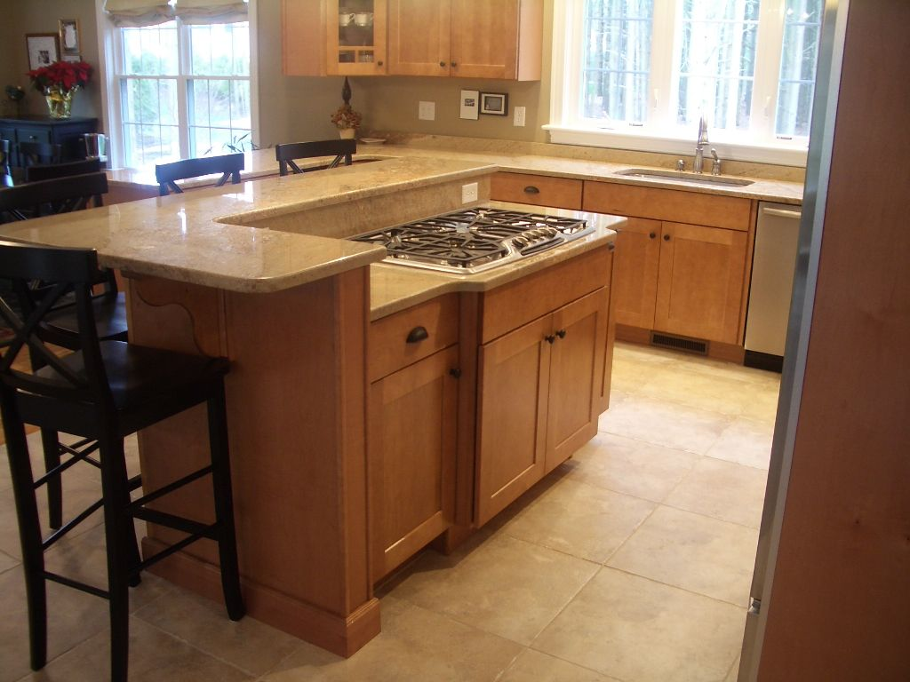 Kitchen Island With Cooktop Marble Table Set Maple Cabinets Bumped Out Stainless