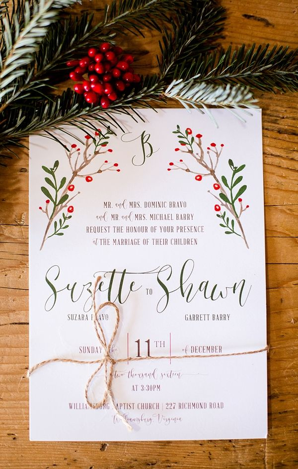 Rustic Red and White Christmas Wedding in Williamsburg | Christmas ...