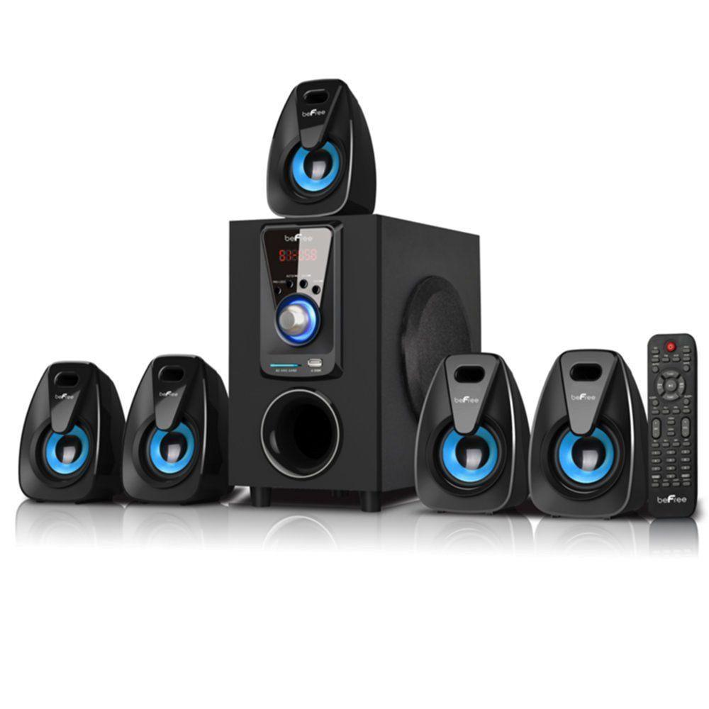 "beFree Sound 5.1 Channel Surround Sound Bluetooth Speaker System- Blue. 4"" Amplifier x1 + 2.5"" Speakers x5. Output Power: 25W+10W*5. USB, SD Compatible. Bluetooth."