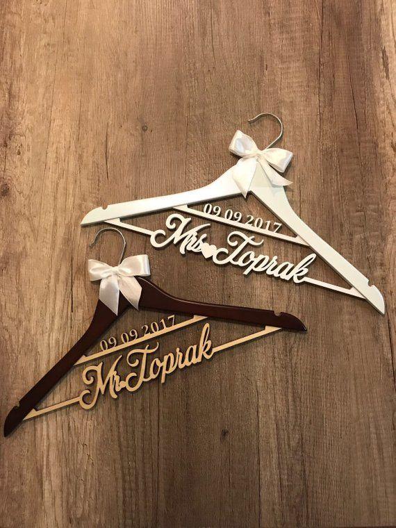 Bridesmaid gifts Wooden hanger Personalized Wedding Hanger Custom Name Hanger