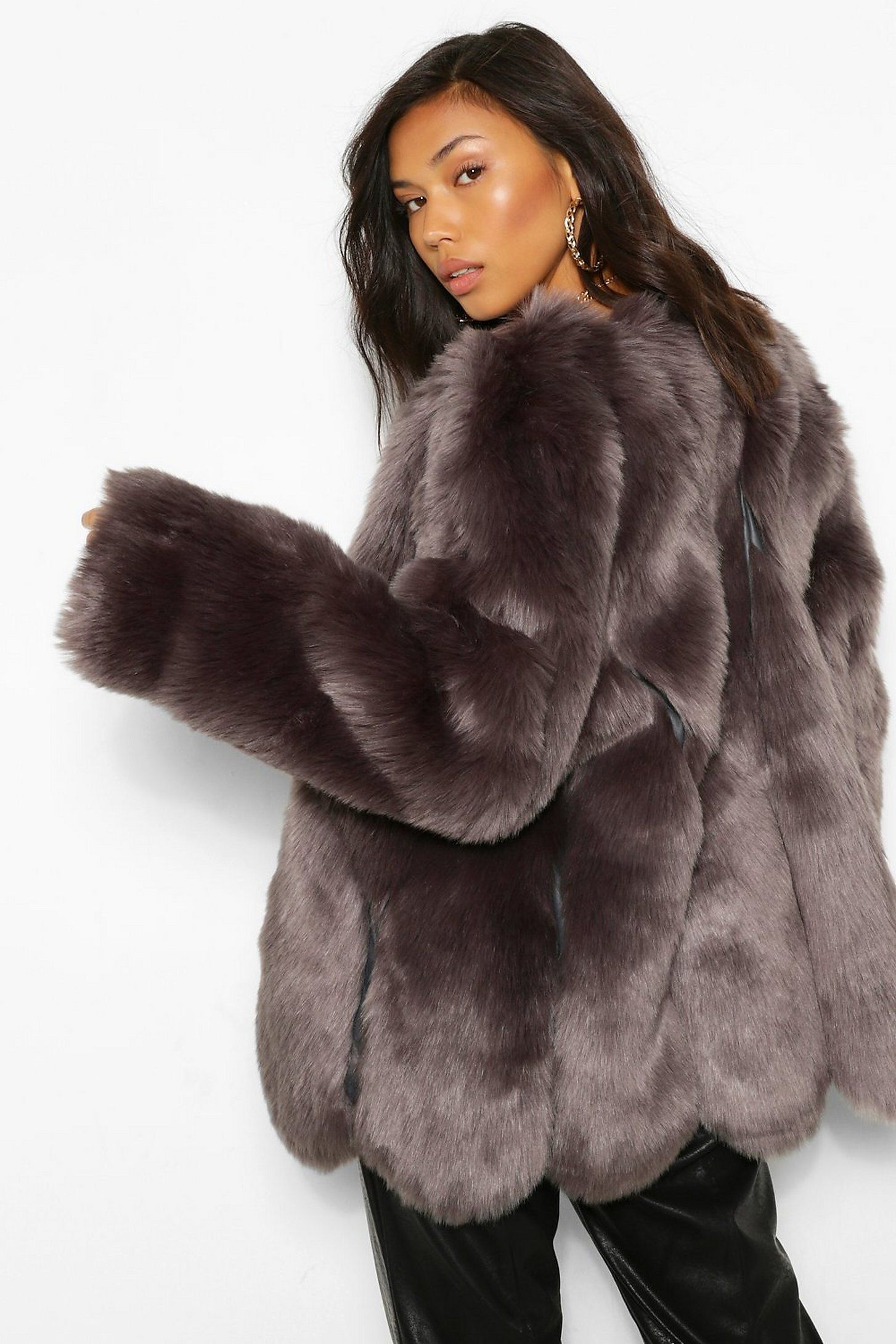 Luxe Panelled Faux Fur Coat | boohoo in 2021 | Grey faux