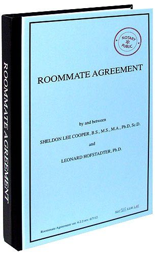 Bif Bang Pow! The Big Bang Theory Journal Roommate - roommate agreement