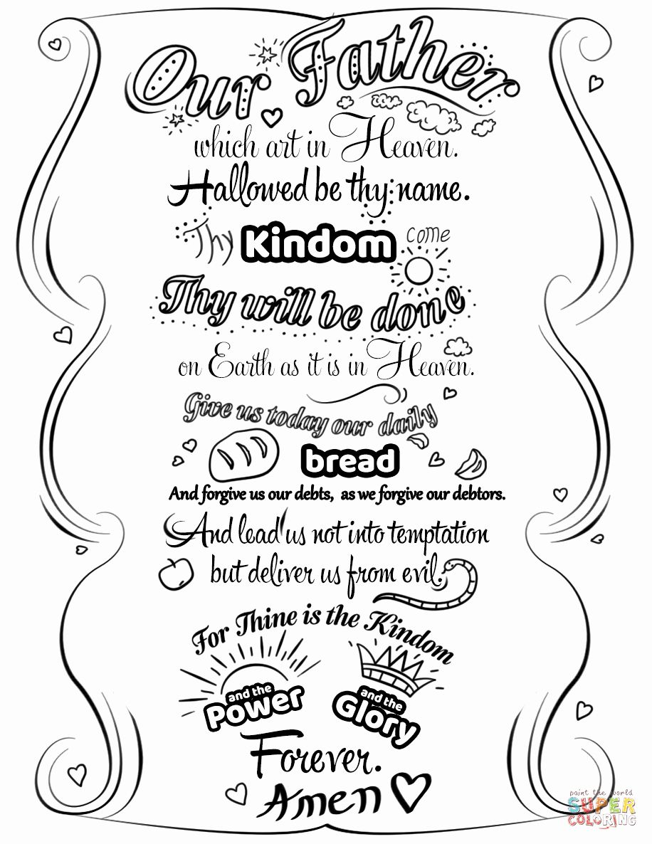 Lords Prayer Coloring Page Elegant The Lord S Prayer Doodle