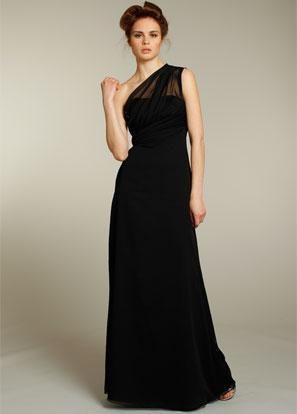 Black Bridesmaid Dresses Long Chiffon One Shoulder Close To The