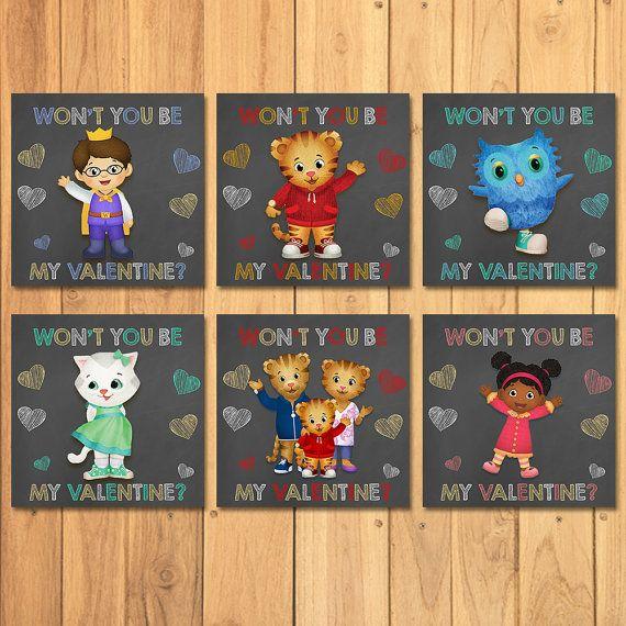 Daniel Tiger Valentineu0027s Day Cards Chalkboard By SometimesPie