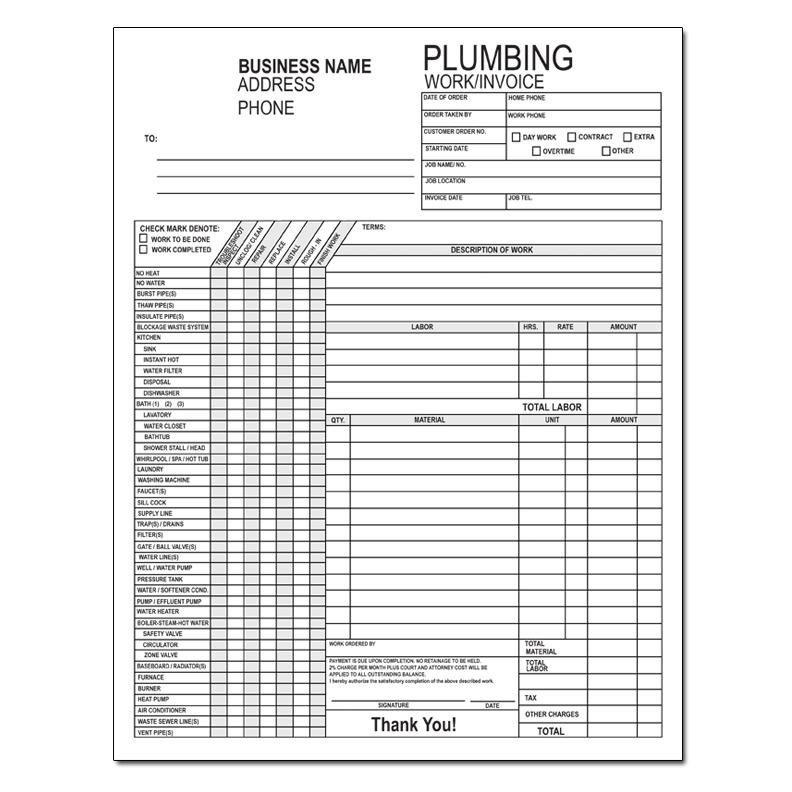 Plumbing Work Order Invoice  Plumbing  Plumbers Business