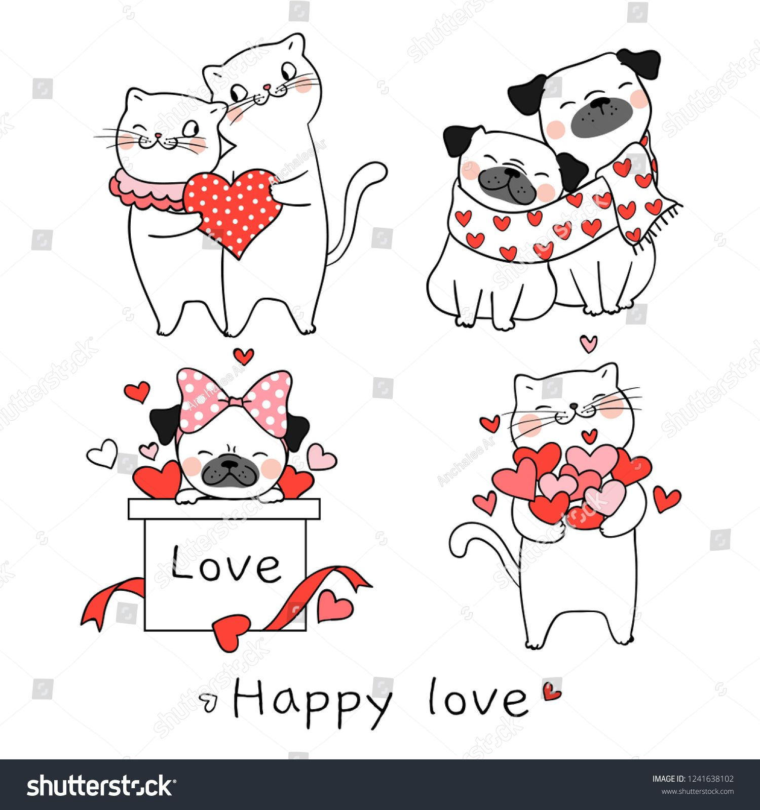 Draw Vector Illustration Collection Portrait Cute Cat And Pug Dog
