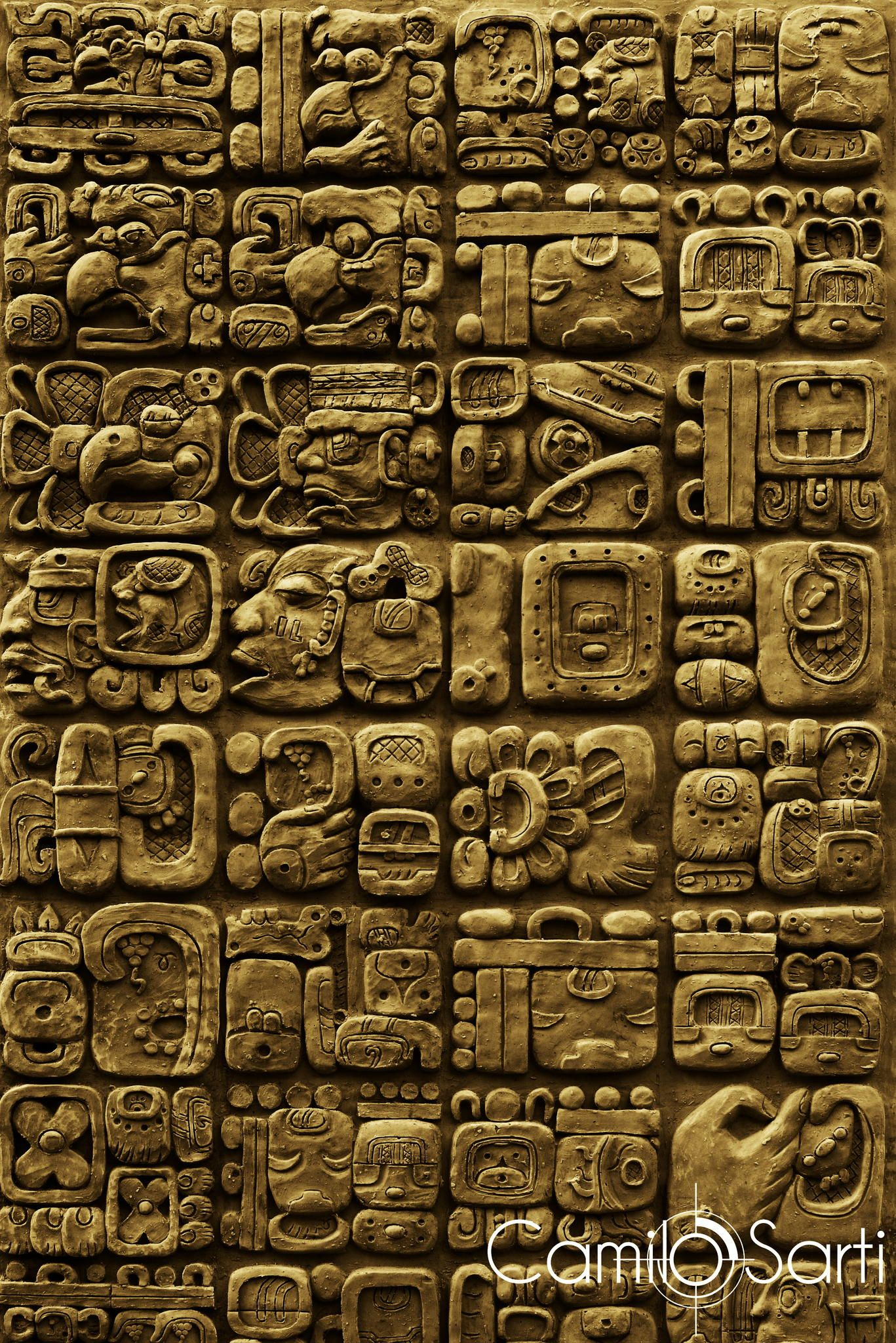 Arte Maya Guatemalteco Details Of Maya Glyphs On A Stelae From The Archaeological Site Of