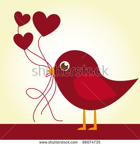 Download red love bird with heart balloons over beige background ...