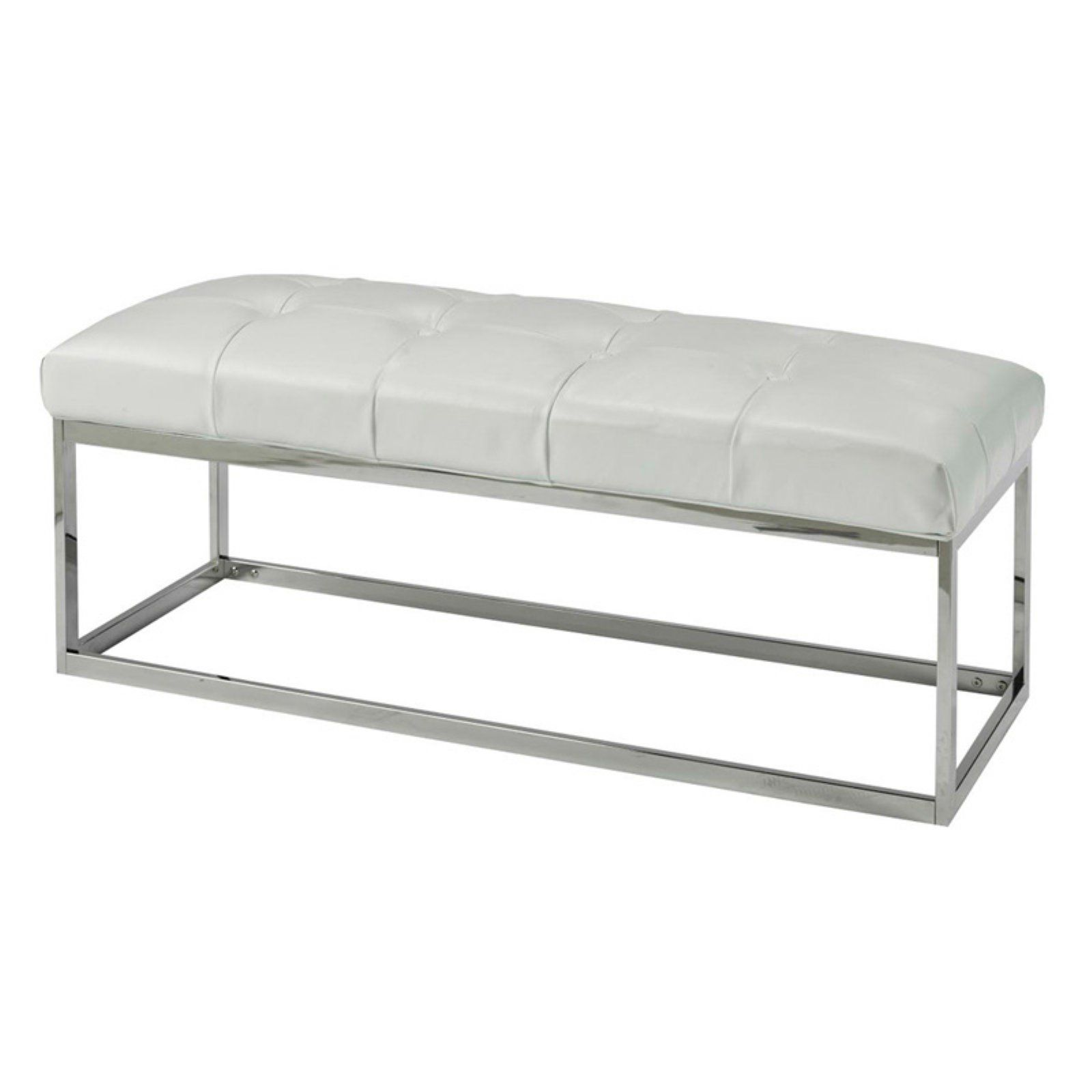 Uptown Club Small Spruce Bench White Leather Bench Upholstered