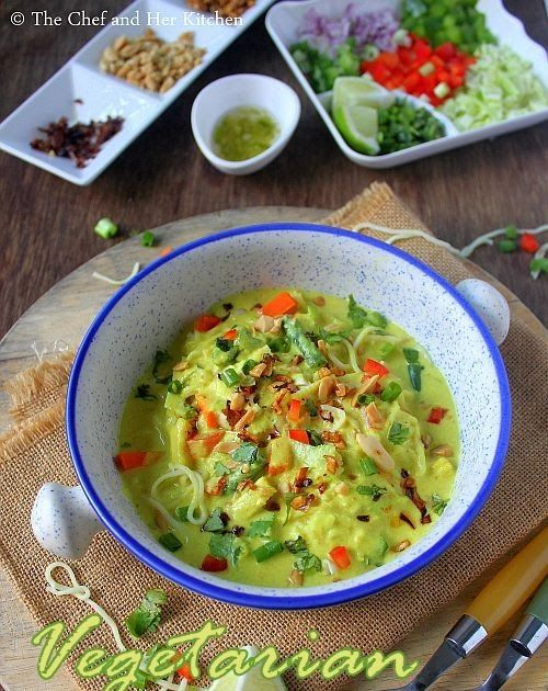 Vegetarian Burmese Khowsuey Recipe with step by step photos .Sometimes we fall in love with few dishes at the very first bite and this B...