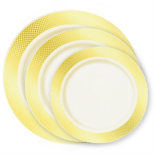 This simple yet elegant plate will add a touch of style to your table. Indistinguishable from china plates yet having the durability of plastic ...  sc 1 st  Pinterest & Crystal Collection Premium Plastic Plates - Ivory/Gold - 10 Count ...
