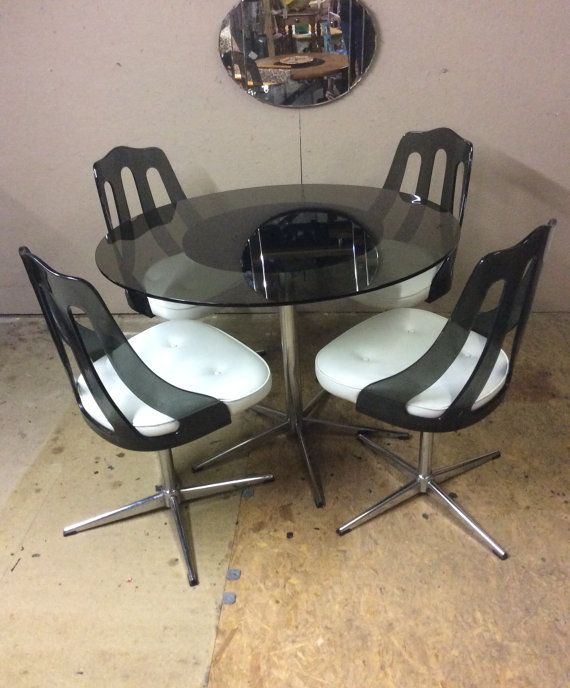 retro chrome and lucite dining table and by ...