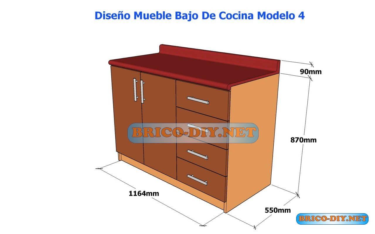 Dise os de muebles bajos de cocina en mdf madera y for Diseno de muebles de madera gratis