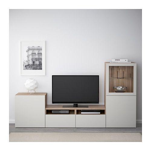 best combinaison rangt tv vitrines blanc lappviken gris clair verre transparent en 2019. Black Bedroom Furniture Sets. Home Design Ideas