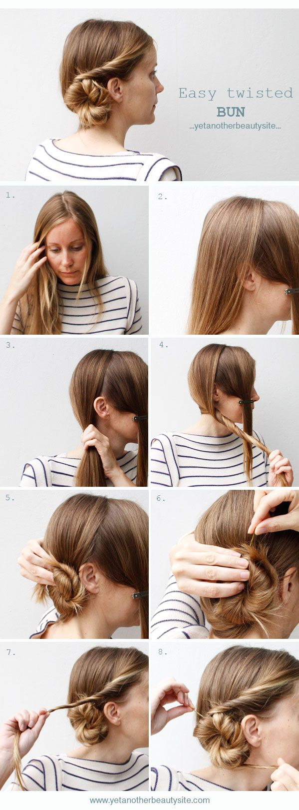 Easy twisted bun from yetanotherbeautysite click on the picture