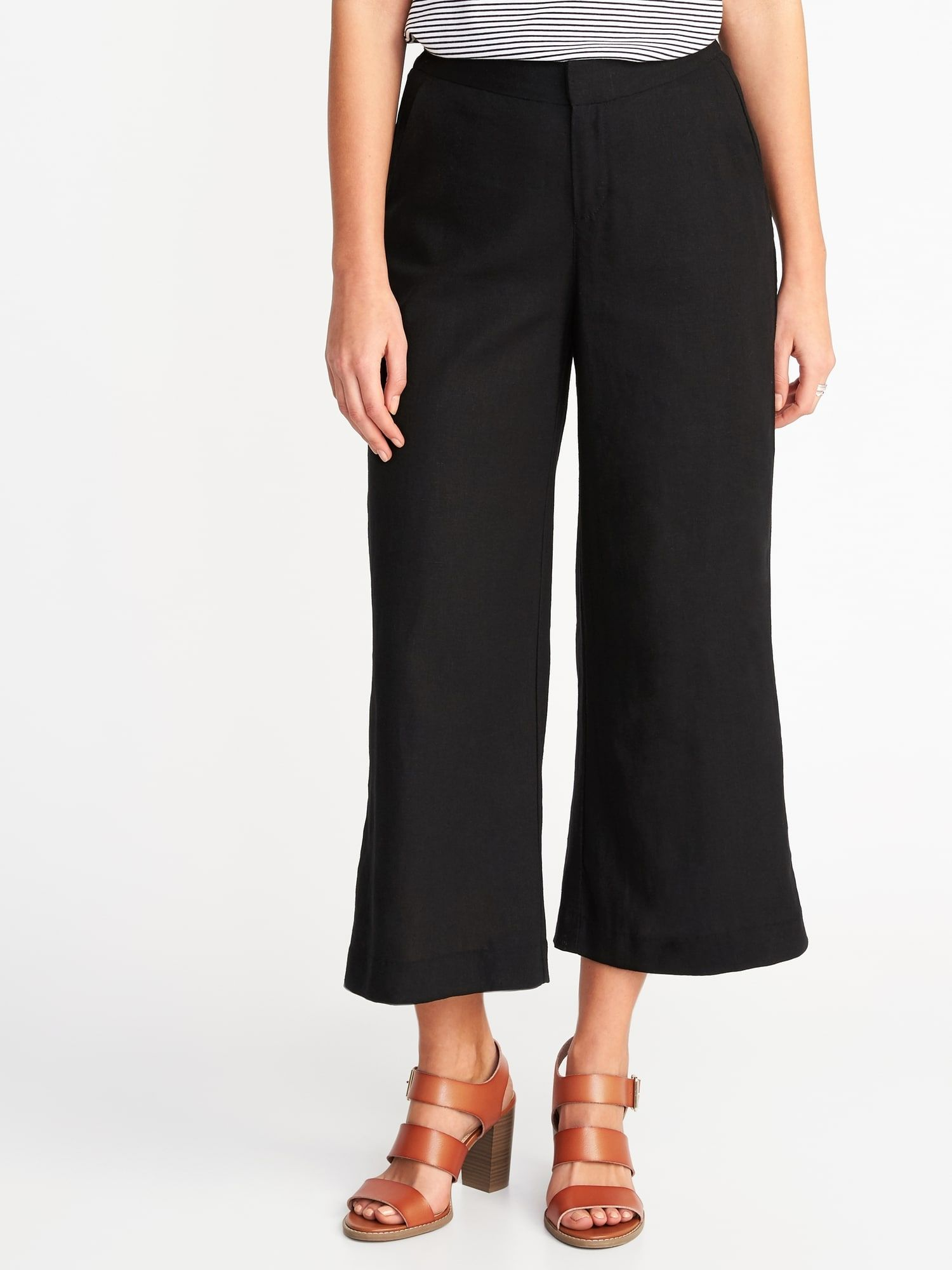 c5c5688c86bf High-Rise Linen-Blend Wide-Leg Cropped Pants for Women