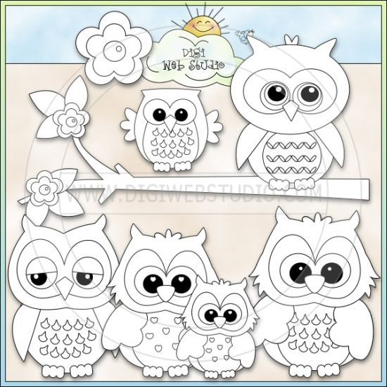 cute owls 1 ne kristi w designs digi stamps digi web studio clip art printable crafts digital scrapbooking - Cute Owl Printable Coloring Pages