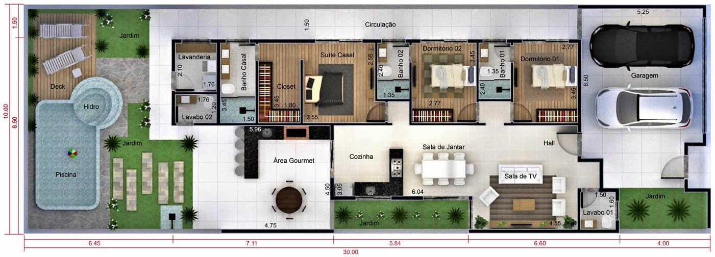 Muito Plano de casa con vestidor. Plano para terreno 10x30 | Planos  UX39