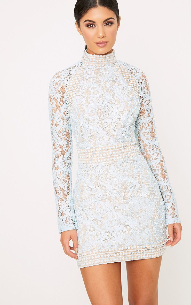 Visa Payment Online Purchase For Sale PRETTYLITTLETHING Dusty High Neck Long Sleeve Lace Bodycon Dress New Arrival Fashion wwHY5