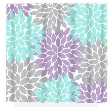 Aqua Gray Shower Curtain Lavender Flower Burst By Trmdesignshop