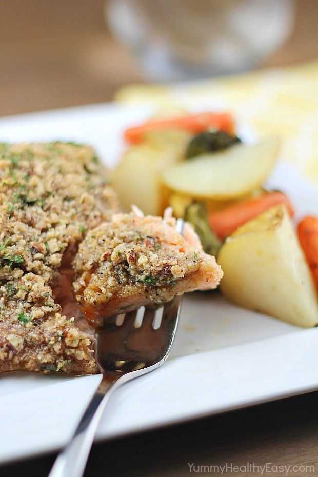 A Favorite Pecan Crusted Honey Mustard Salmon Sub Almond Flour For Bread Crumbs Salmon