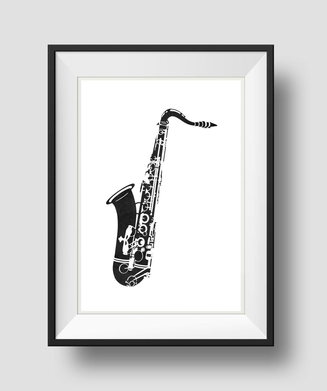 Saxophone Art, Black Saxophone, Jazz Art, Home Wall Art, Printable ...