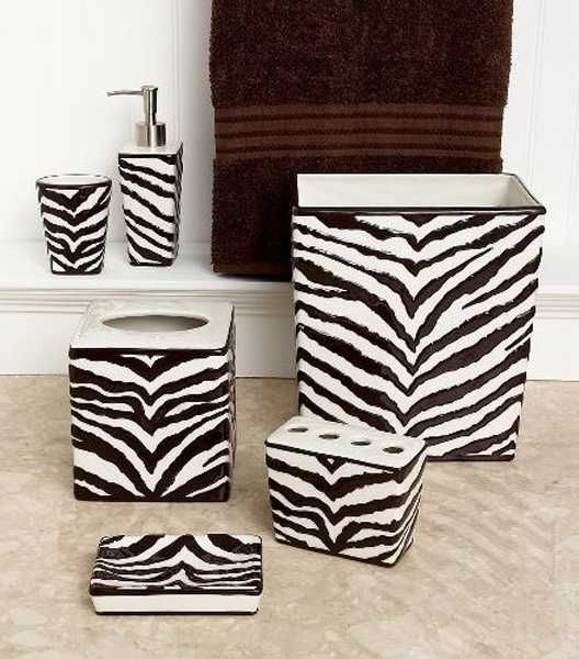 Bath accessories with zebra print for Bathroom ideas zebra print