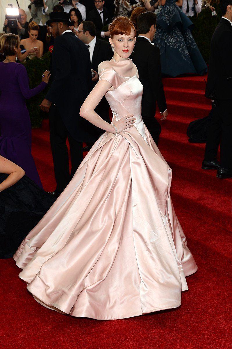 """Karen Elson in Zac Posen - """"Charles James: Beyond Fashion,"""" 2014"""