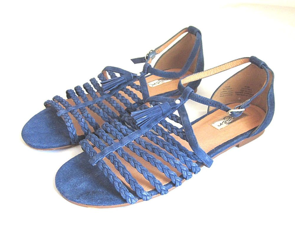 0d4dd3dc07f HALOGEN Women s Royal Blue Strappy Braided Suede Leather Flat Sandals 8 1 2  M  Halogen  Strappy  Casual