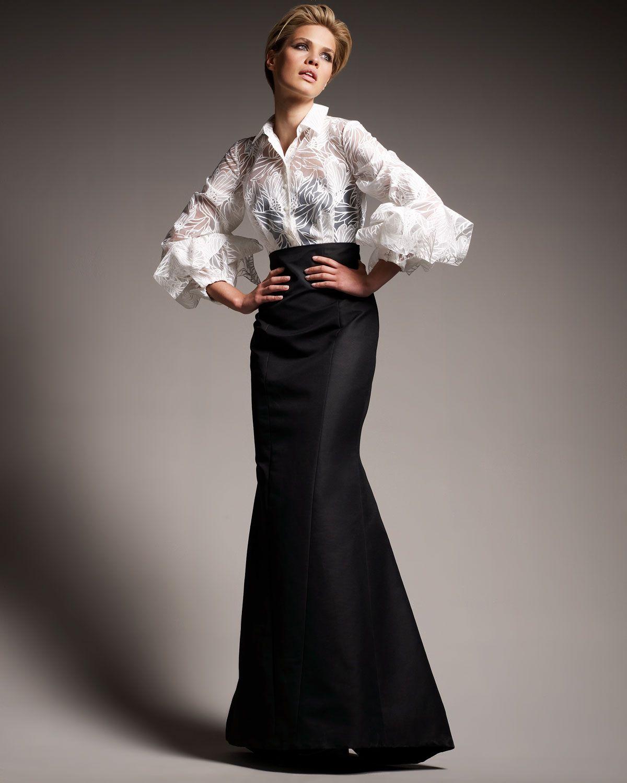Image Result For White Silk Taffeta Shirt Carolina Herrera Dressesvintage