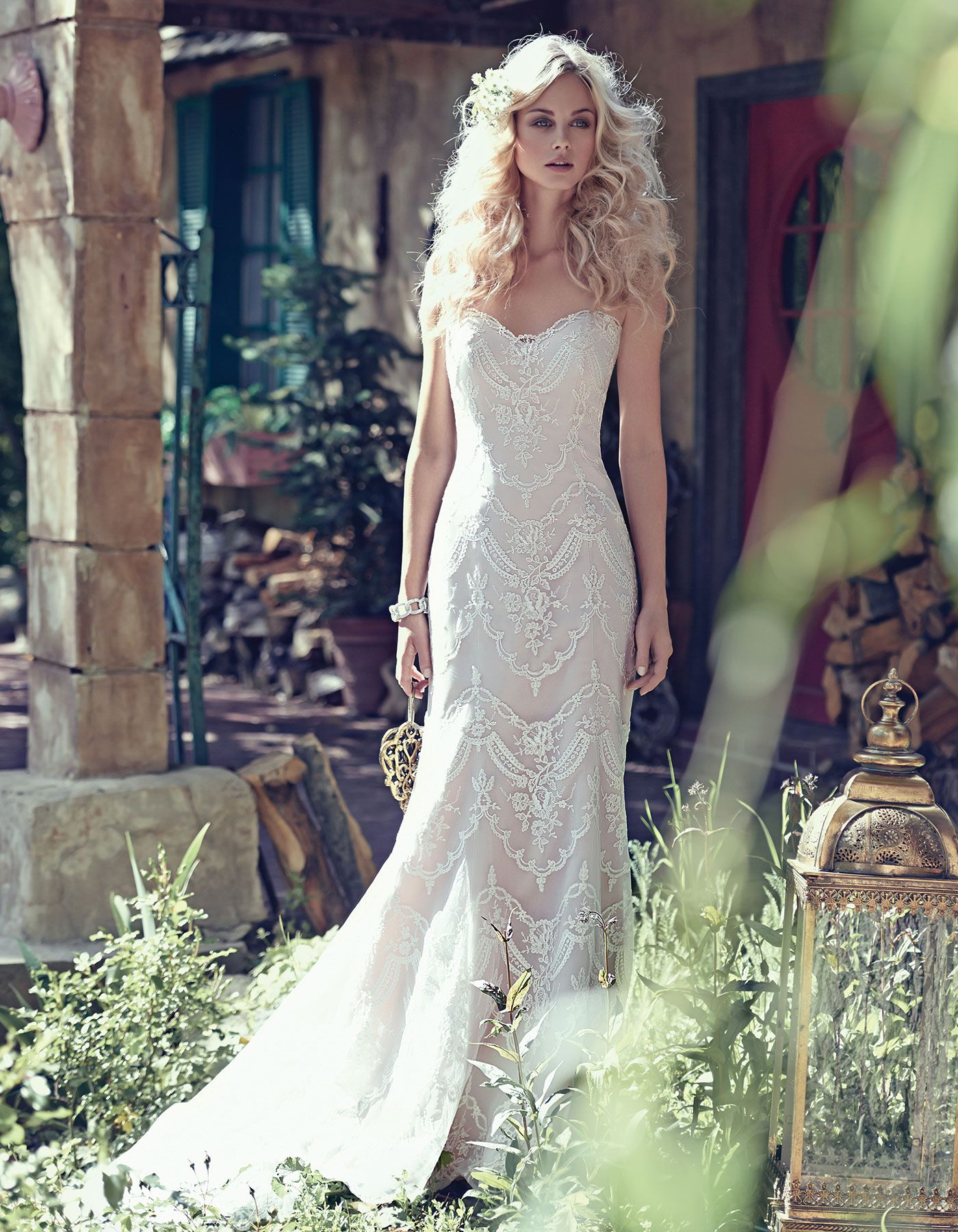 Vintage lace strapless wedding gown kirstie maggie sottero