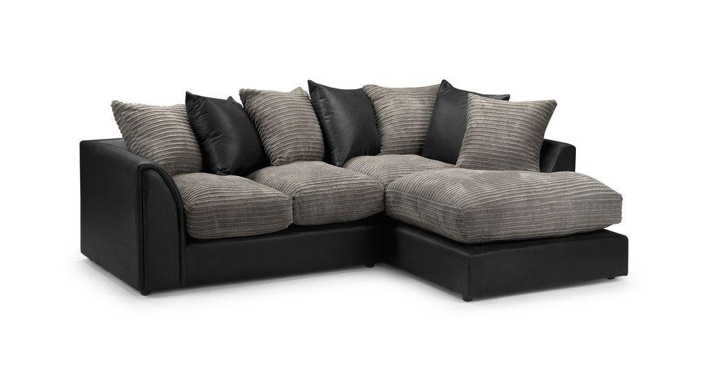 Best Byron Jumbo Cord Corner Sofa In Black Grey Or Brown Beige 640 x 480
