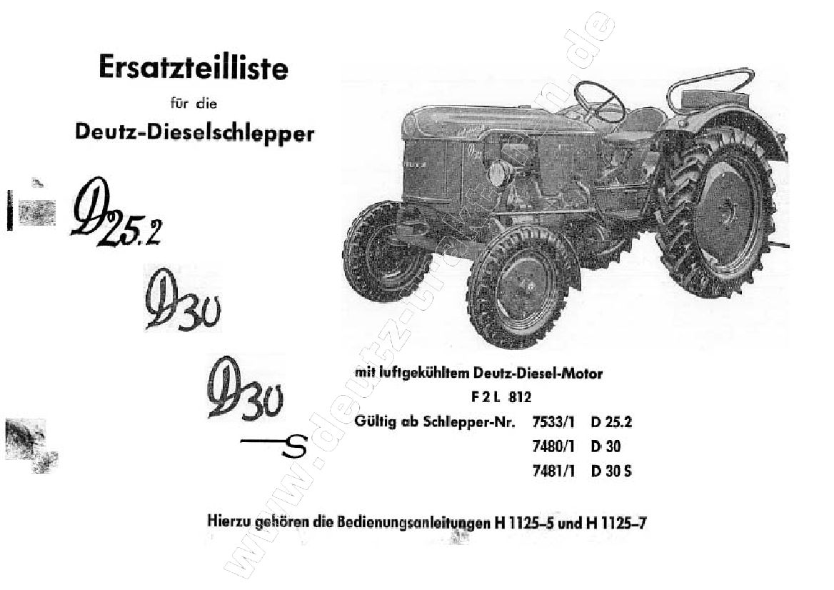 Tractors Deutz D25D30D30S Repair Service Manual
