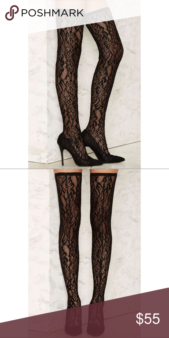 6b17da8013 Nasty Gal Delicate Danger Lace Stiletto Boot Worn twice. Good condition Nasty  Gal Shoes Over the Knee Boots