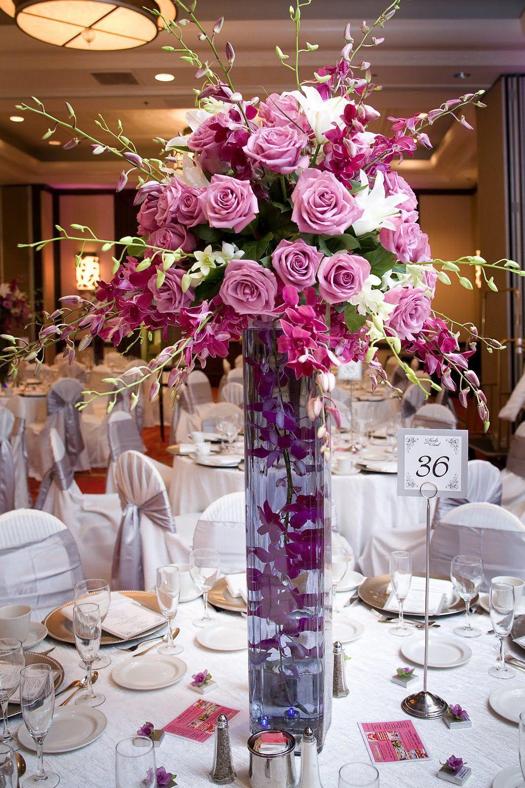 Purple Rose Purple Orchid In Cylinder Vase Reception Wedding