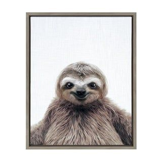 Pin By Angela Otimo On Baby Sloth In 2020 Framed Canvas Wall Art Animal Canvas Cool Paintings