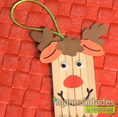 Reno Palo Polo Navidad Pinterest Adornos Navidenos Plastica Y - Trabajos-manuales-de-navidad-para-nios