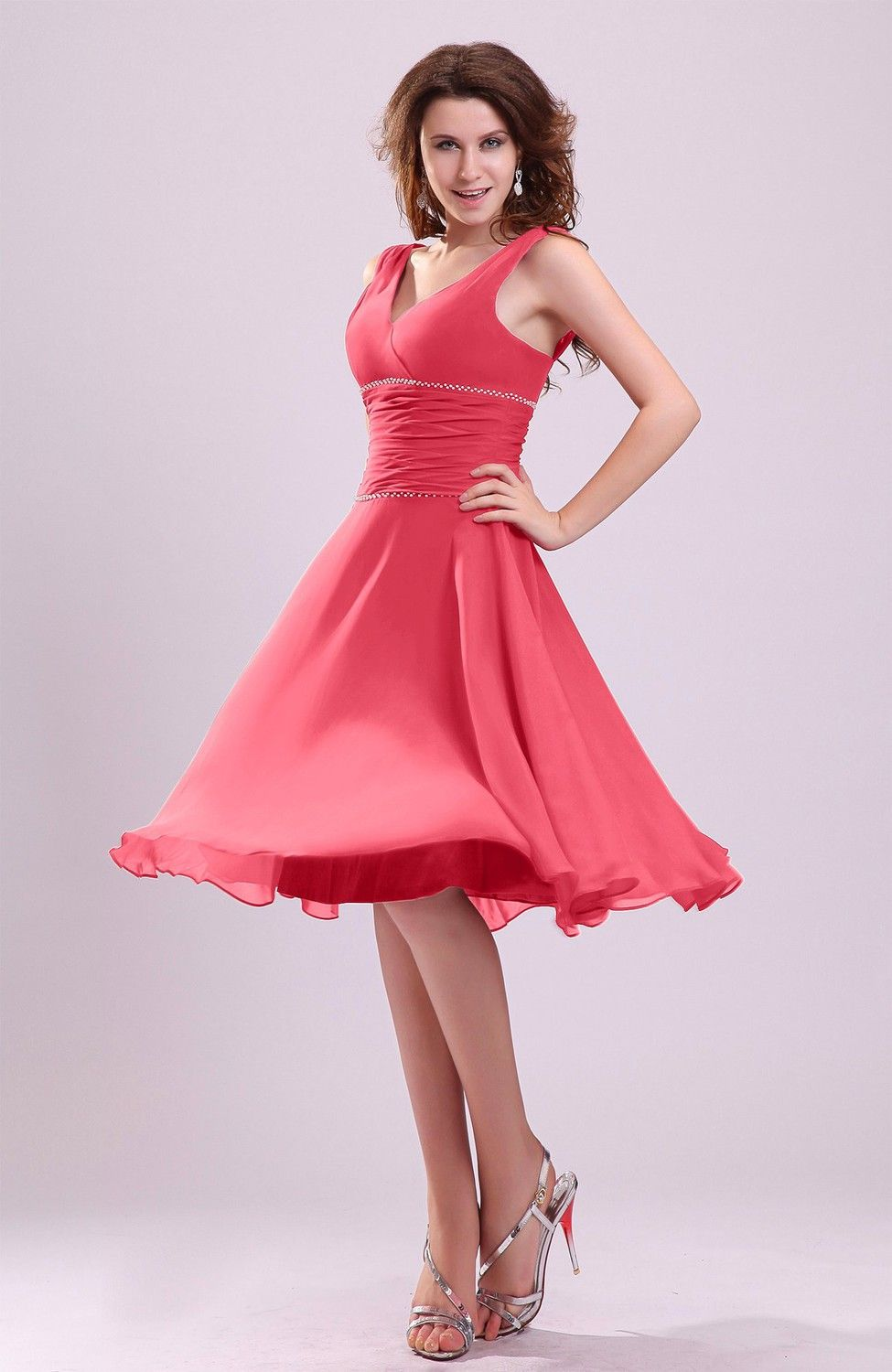 Guava Bridesmaid Dress Cute A Line Sleeveless Chiffon Knee Length Short Ruching