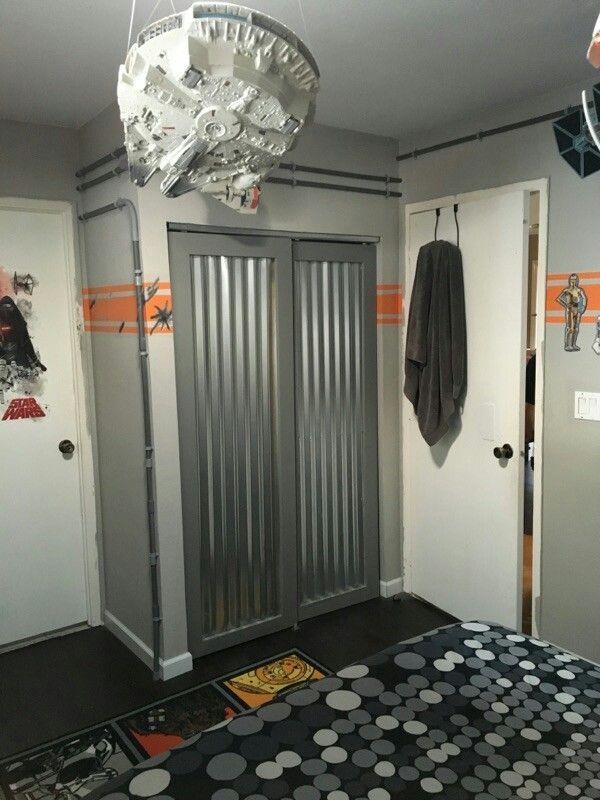 Star Wars Theme Room New Closet Doors Made Wcorrugated Aluminum