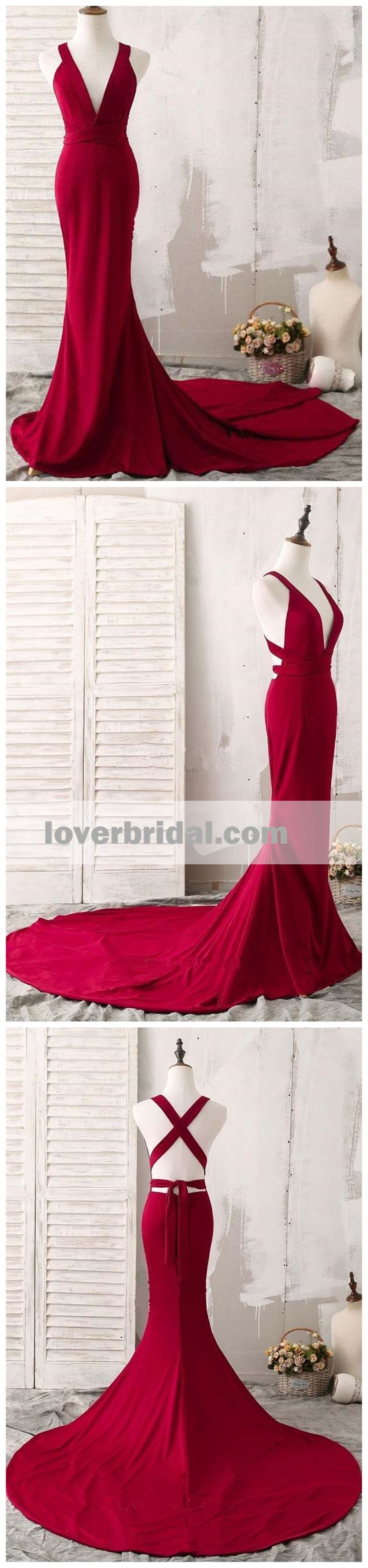 Sexy v neck dark red mermaid long evening prom dresses prom