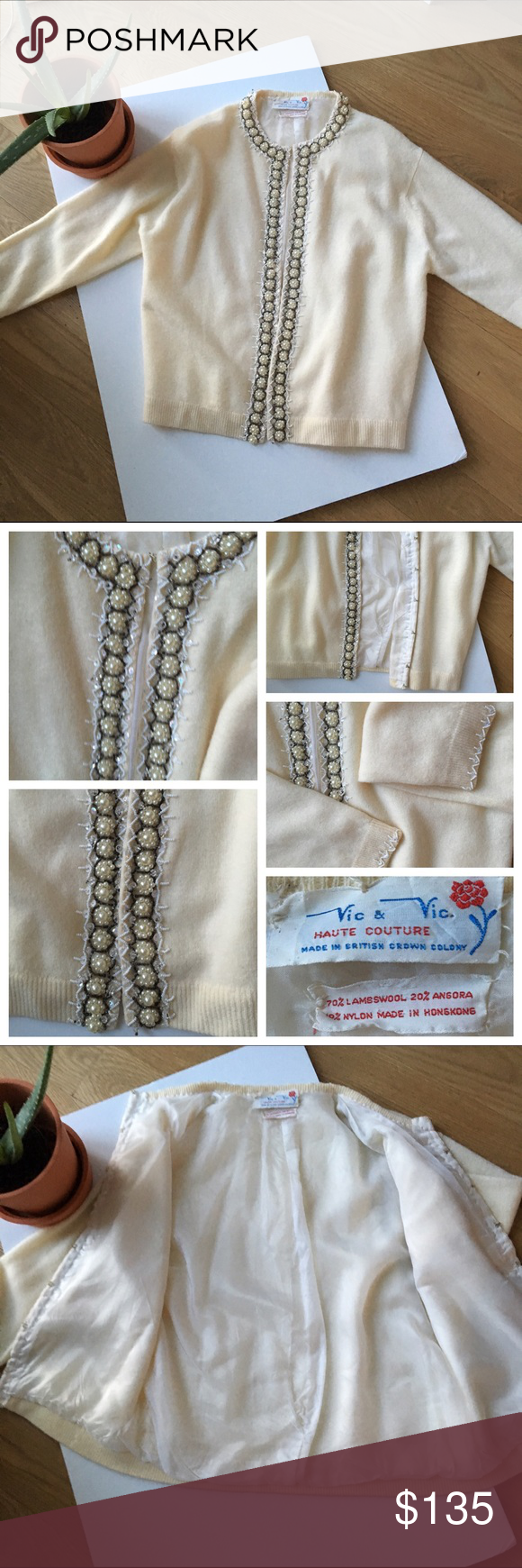 Vintage haute couture sweater Bought and never worn. No stains. New condition. Beautiful cream with pearls and beading. Hook enclosure on front Sweaters Cardigans
