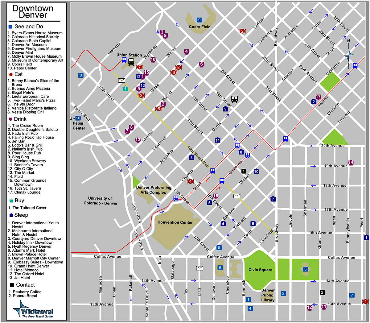 Denver Map: Downtown Denver Colorado Tourist Map
