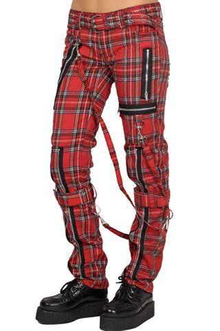 Tripp black red plaid corset laced bondage pants