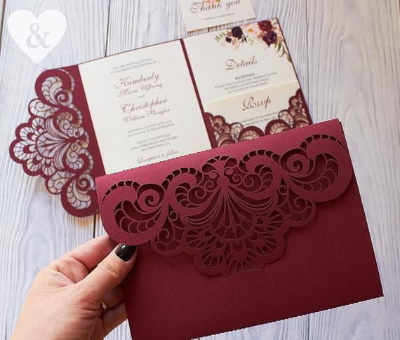 When Do I Send Out Wedding Invites: Burgundy Pocket Wedding Invitation Kit