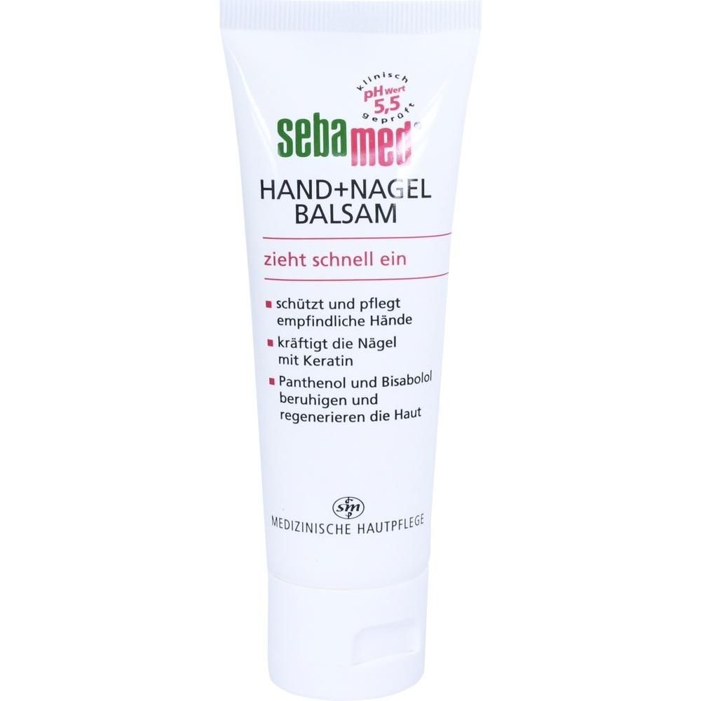 SEBAMED Hand+Nagelbalsam:   Packungsinhalt: 75 ml Balsam PZN: 06190651 Hersteller: Sebapharma GmbH & Co.KG Preis: 3,71 EUR inkl. 19 %…