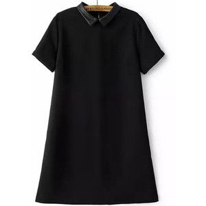 Doll Collar Black A-Line Dress