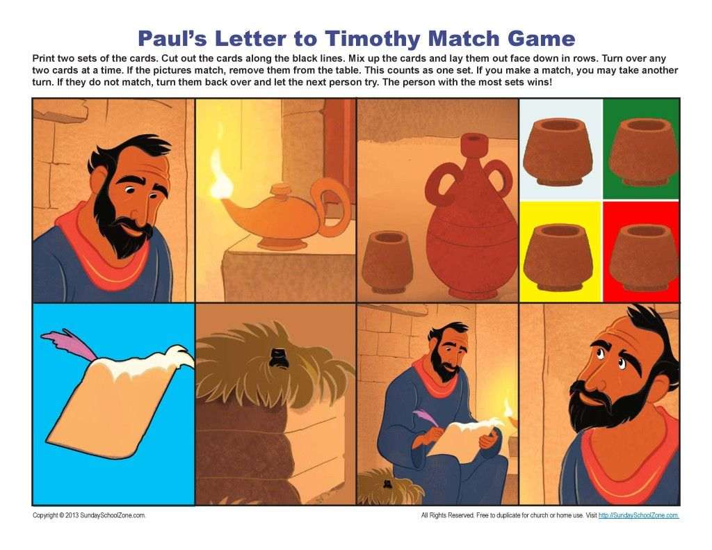Paul S Letter To Timothy Matching Game Activity For Kids
